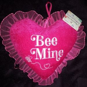 Bee Mine Small Heart Pillow NWT